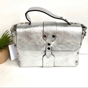 Christian Laurier paty studded leather bag silver